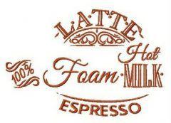 Written latte recipe embroidery design