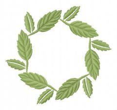 Leaf wreath embroidery design
