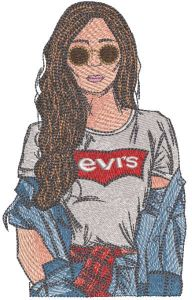 Levis Girl embroidery design
