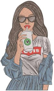 Levis girl with coffee embroidery design