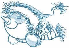 Light blue snowman free embroidery design
