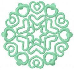 Light green snowflake embroidery design