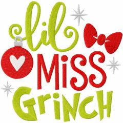 Lil miss grinch embroidery design
