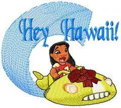Lilo Hey Hawaii embroidery design