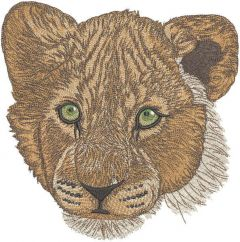 Lion cub with green eyes embroidery design
