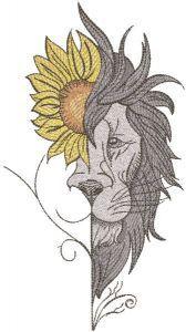 Lion sunflower embroidery design