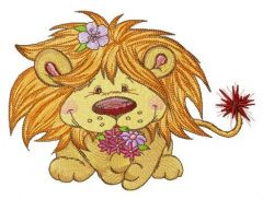Lion with bouquet of spring flowers embroidery design