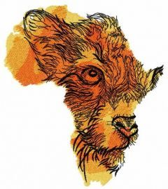 Lioness African map embroidery design