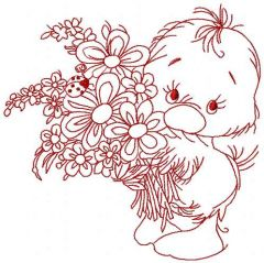 Little cute duck with flowers embroidery design