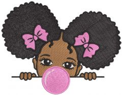 Little girl with bubble gum embroidery design