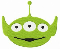 Little Green Man smile embroidery design