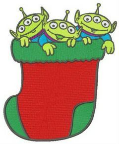 Little Green Men in Christmas sock embroidery design