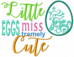 Little miss eggs tremely cute embroidery design