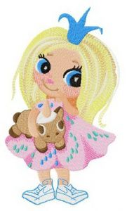 Little princess with unicorn toy embroidery design