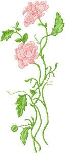 Long stem roses embroidery design