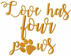 Love has four paws embroidery design