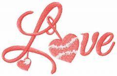 Love script symbol embroidery design