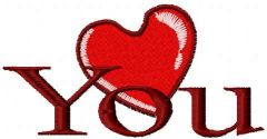 Love you 8 embroidery design