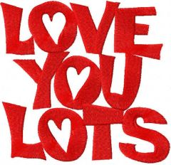 Love you lots embroidery design