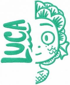 Luca monster one colored embroidery design