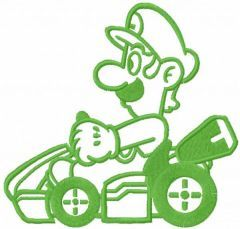 Luigi on the cart one colored embroidery design