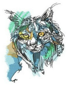 Lynx hunting embroidery design