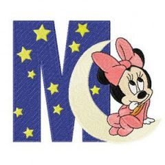 Minnie Mouse M Moon embroidery design