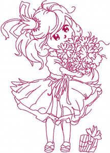 Malvina is birthday one colored embroidery design