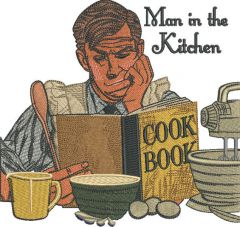 Man in the kitchen embroidery design