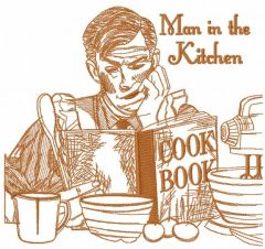 Man in the kitchen one colored embroidery design