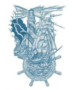Marine collage embroidery design
