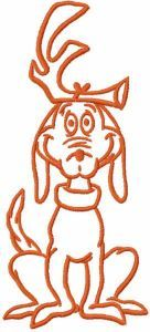 Max dog one colored embroidery design