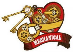 Mechanical heart embroidery design 4