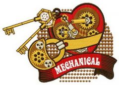 Mechanical heart embroidery design 3