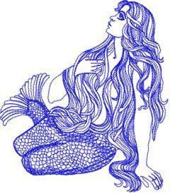 Mermaid machine embroidery design