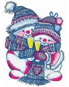 Merry Xmas snowmen embroidery design