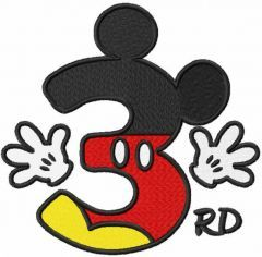 Mickey number three embroidery design