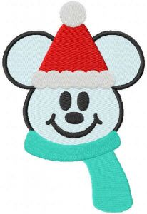 Mickey snowman with scarf embroidery design