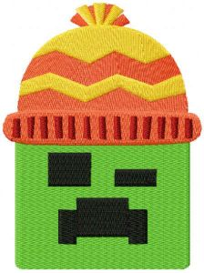Minecraft Creeper wears a winter hat embroidery design