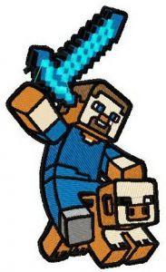 Minecraft warrior 2 embroidery design