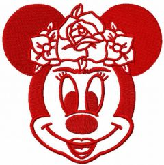 Minnie frida red color embroidery design