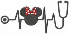 Minney Mouse stetoscope embroidery design