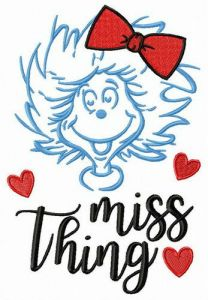 Miss Thing embroidery design