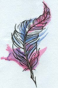 Feather mixed colors embroidery design