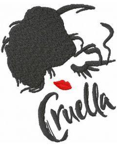 Modern cruella embroidery design