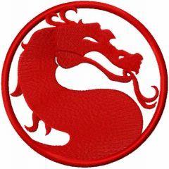 Mortal Combat red logo embroidery design