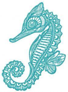 Mosaic sea horse embroidery design 2