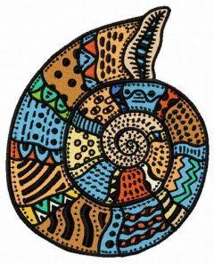 Mosaic sea shell embroidery design