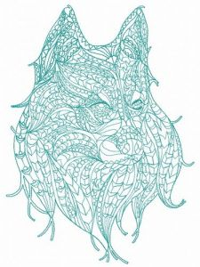 Mosaic wolf embroidery design 7