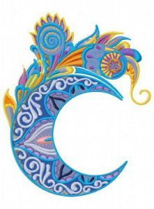 Mottled moon 2 embroidery design